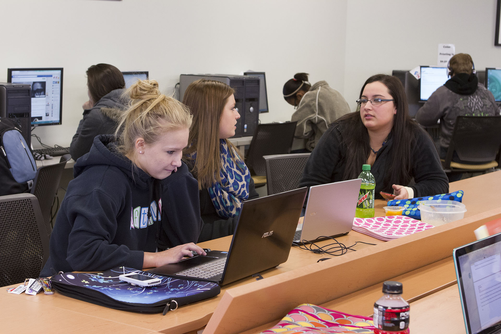 Students tutoring in the learning center