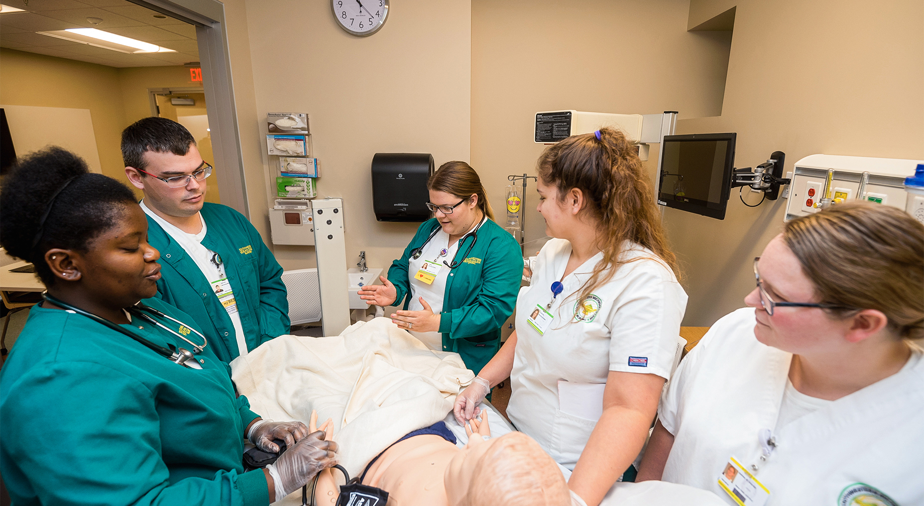 Nursing students in the simulation lab.